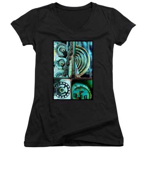 Circle Collage In Blue Women's V-Neck