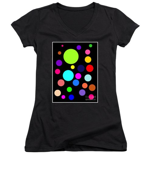 Circles On Black Women's V-Neck (Athletic Fit)