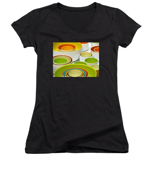 Women's V-Neck T-Shirt (Junior Cut) featuring the photograph Circles Squared by Ira Shander