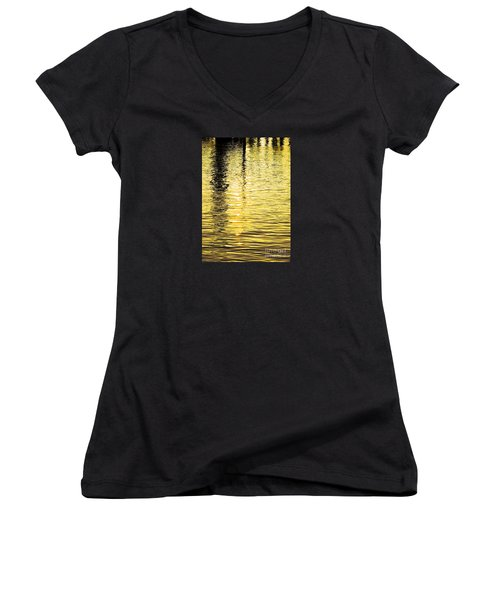 Women's V-Neck T-Shirt (Junior Cut) featuring the photograph Citrine Ripples by Chris Anderson