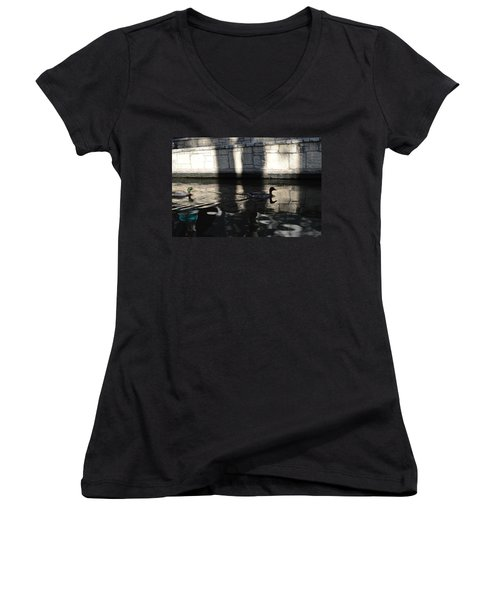 Women's V-Neck T-Shirt (Junior Cut) featuring the photograph City Ducks by Shawn Marlow