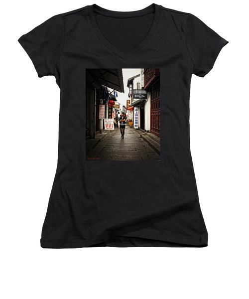 Women's V-Neck T-Shirt (Junior Cut) featuring the photograph City Life In Ancient China by Lucinda Walter