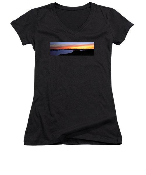 Women's V-Neck T-Shirt (Junior Cut) featuring the photograph City Lights In The Sunset by Miroslava Jurcik