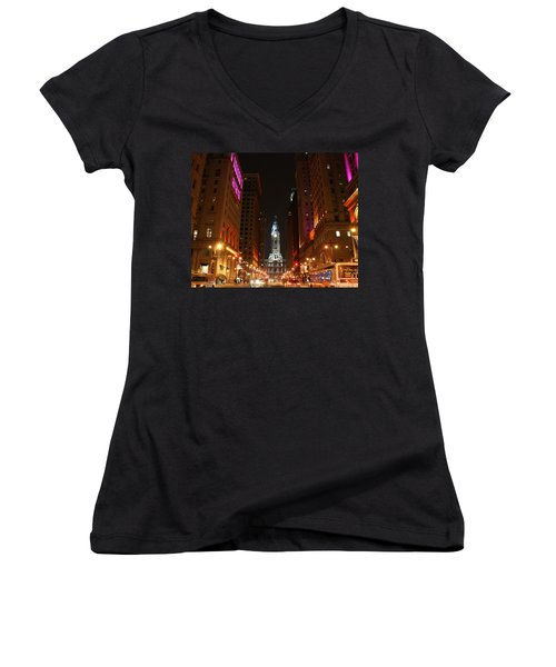 Women's V-Neck T-Shirt (Junior Cut) featuring the photograph Philadelphia City Lights by Christopher Woods
