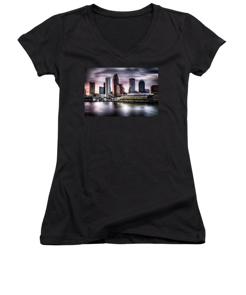 City Of Tampa Skyline At Dusk In Hdr Women's V-Neck T-Shirt