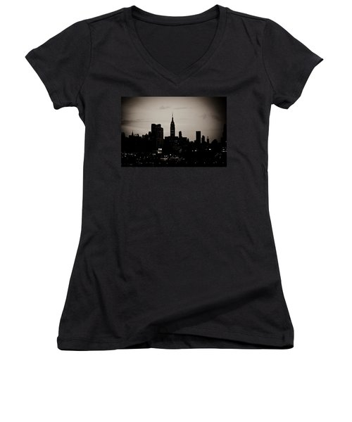 Women's V-Neck T-Shirt (Junior Cut) featuring the photograph City Silhouette by Sara Frank