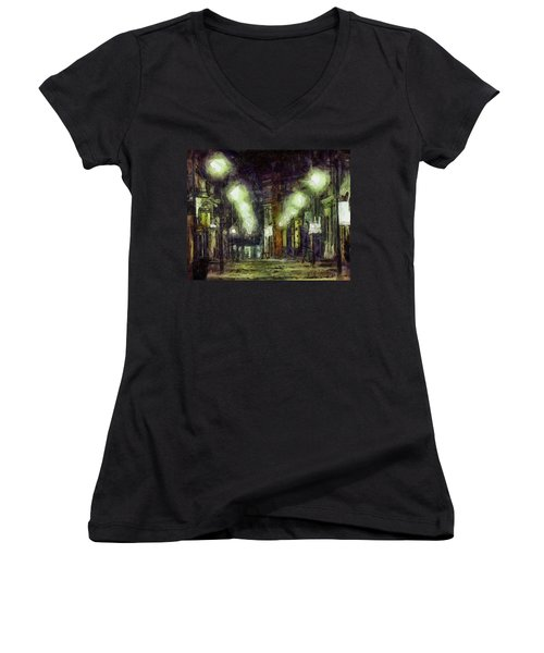 Women's V-Neck T-Shirt (Junior Cut) featuring the drawing City Street by Joe Misrasi