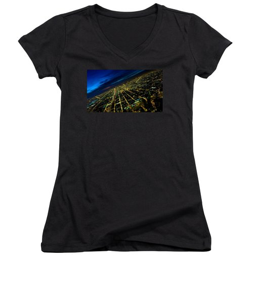 City Street Lights Above Women's V-Neck