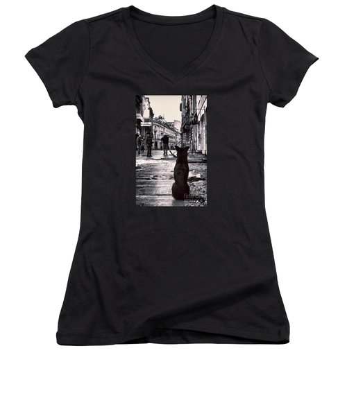 City Streets And The Theory Of Waiting Women's V-Neck