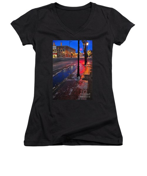 Clare Michigan At Christmas 10 Women's V-Neck T-Shirt (Junior Cut) by Terri Gostola