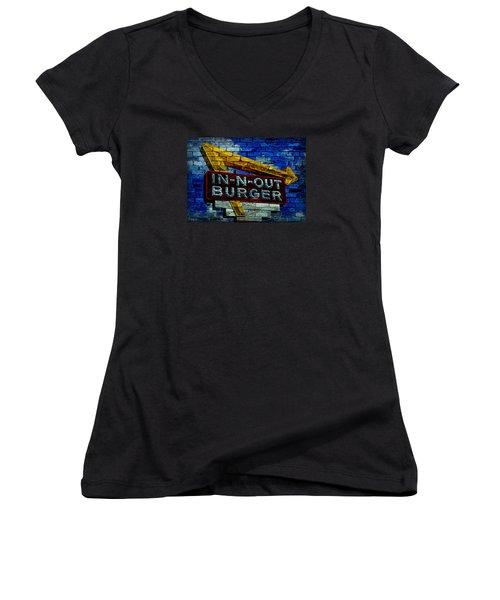 Classic Cali Burger 2.4 Women's V-Neck T-Shirt (Junior Cut) by Stephen Stookey