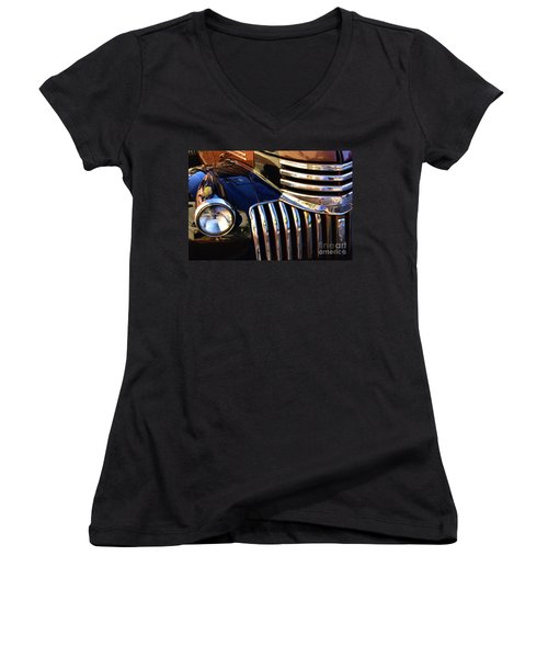 Women's V-Neck T-Shirt (Junior Cut) featuring the photograph Classic Chevy Two by John S