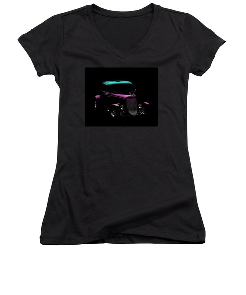 Old Cars Women's V-Neck T-Shirt (Junior Cut) featuring the photograph Classic Minimalist by Aaron Berg