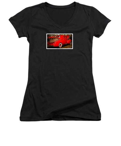 Classically Orange Women's V-Neck T-Shirt (Junior Cut) by Bobbee Rickard
