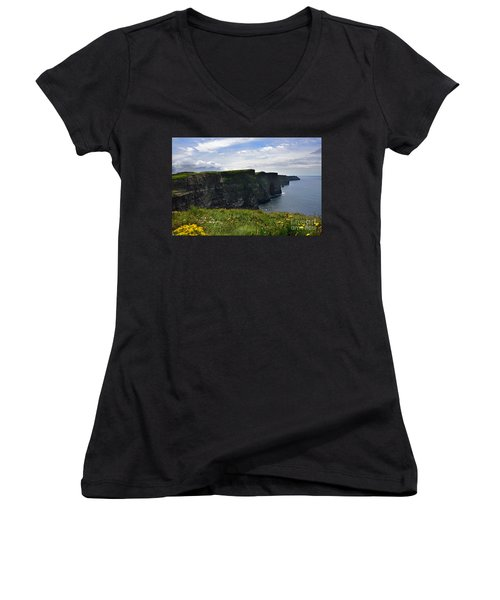 Cliffs Of Moher Looking South Women's V-Neck T-Shirt (Junior Cut) by RicardMN Photography