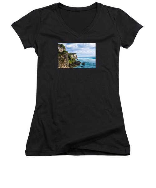 Cliffs On The Indonesian Coastline Women's V-Neck T-Shirt