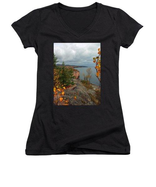 Women's V-Neck T-Shirt (Junior Cut) featuring the photograph Cliffside Fall Splendor by James Peterson