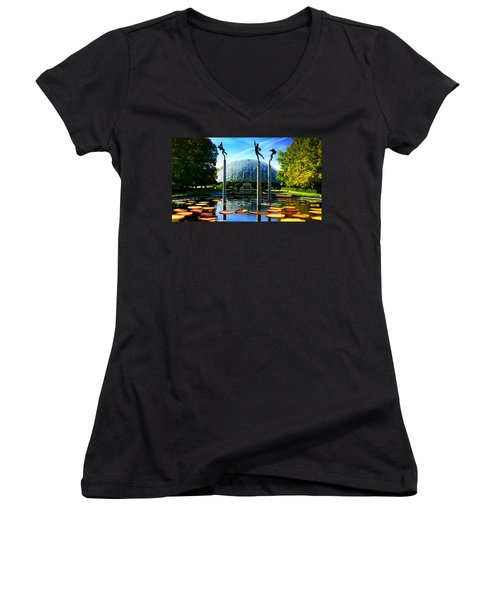Climatron Geodesic Dome Landscape Women's V-Neck