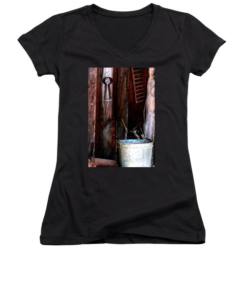 Women's V-Neck T-Shirt (Junior Cut) featuring the photograph Clippers And The Bucket by Lesa Fine