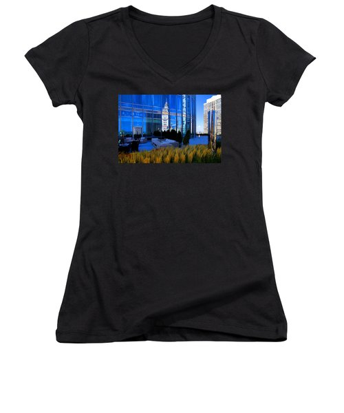 Clock Tower Reflection Women's V-Neck