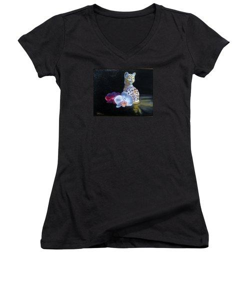 Women's V-Neck T-Shirt (Junior Cut) featuring the painting Cloisonne Cat by LaVonne Hand