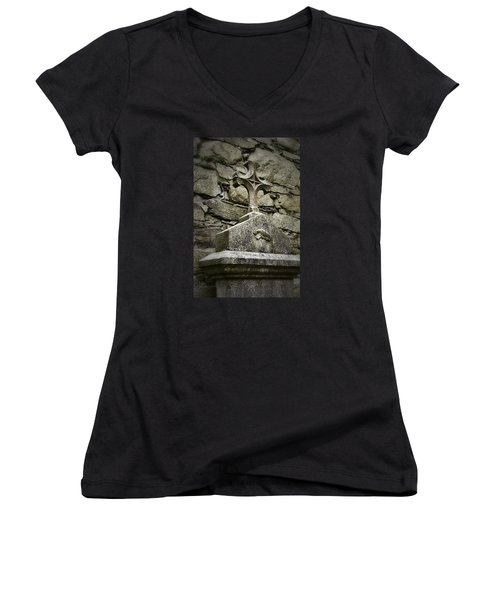 Cloister Cross At Jerpoint Abbey Women's V-Neck T-Shirt (Junior Cut) by Nadalyn Larsen