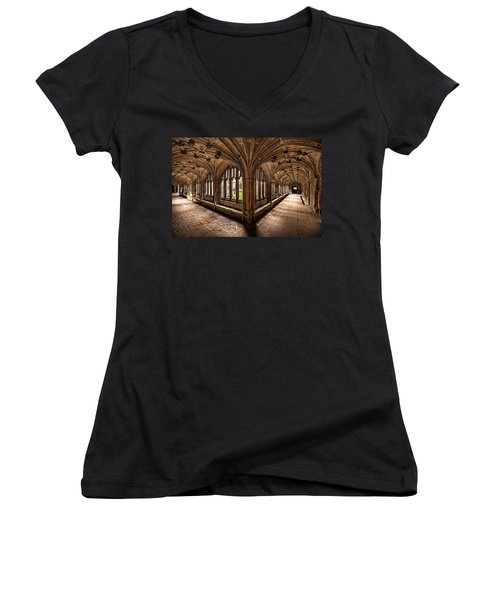 Cloisters At Lacock Abbey Women's V-Neck