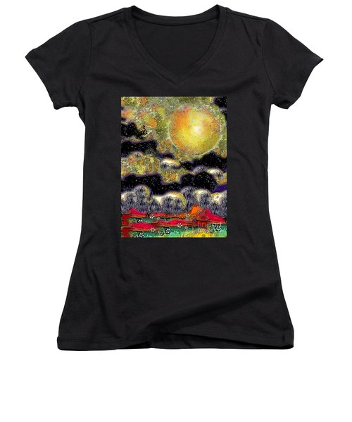 Clonescape Moon Women's V-Neck (Athletic Fit)