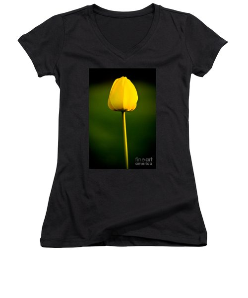 Closed Yellow Flower Women's V-Neck
