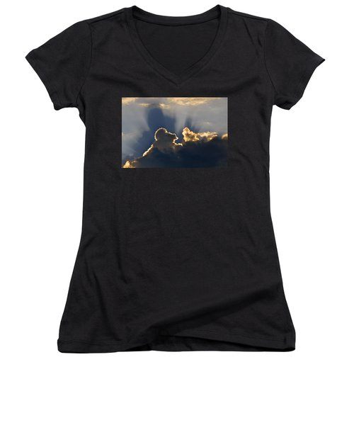 Women's V-Neck T-Shirt (Junior Cut) featuring the photograph Cloud Shadows by Charlotte Schafer