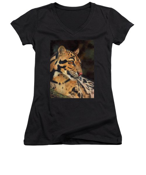 Clouded Leopard Women's V-Neck T-Shirt