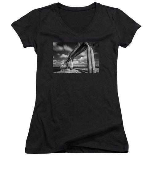 Clouds Above The Bridge Women's V-Neck T-Shirt