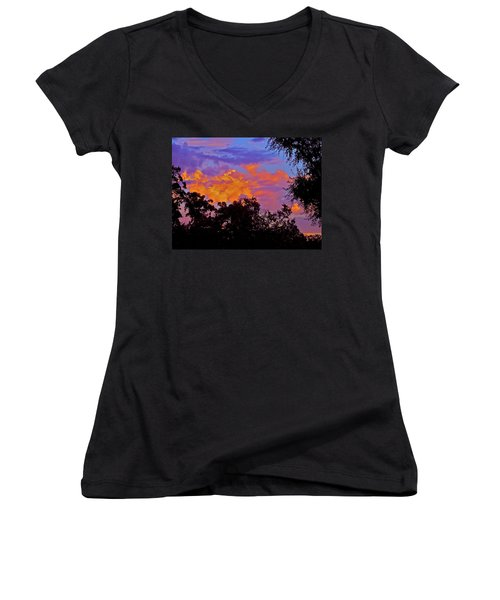 Women's V-Neck T-Shirt (Junior Cut) featuring the photograph Clouds by Pamela Cooper