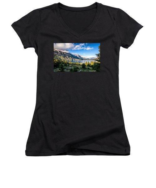 Clouds Roll In Women's V-Neck T-Shirt (Junior Cut) by Aaron Aldrich