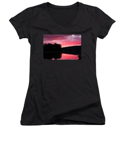 Cloudy Sunset Women's V-Neck T-Shirt (Junior Cut) by Dave Files