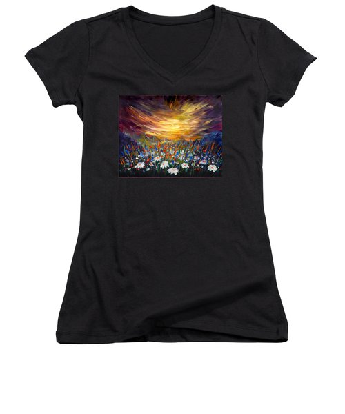 Women's V-Neck T-Shirt (Junior Cut) featuring the painting Cloudy Sunset In Valley by Lilia D