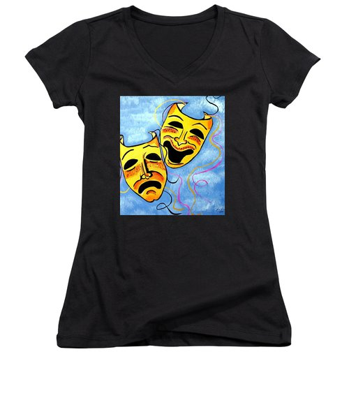 Women's V-Neck T-Shirt (Junior Cut) featuring the painting Comedy And Tragedy by Nora Shepley