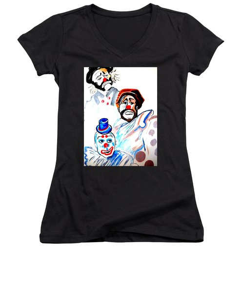 Women's V-Neck T-Shirt (Junior Cut) featuring the painting Clowns In Heaven by Nora Shepley