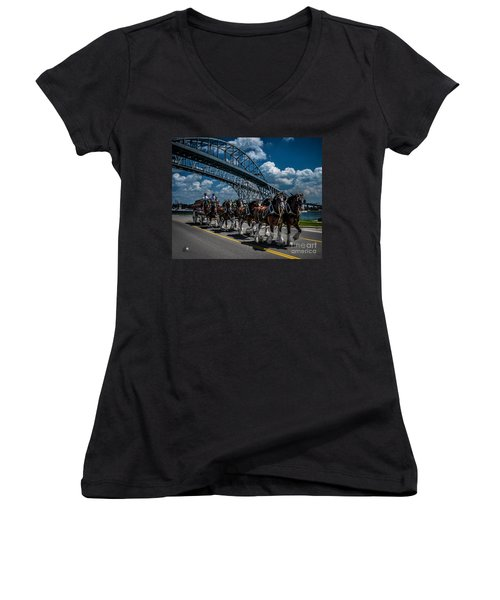 Clydesdales And Blue Water Bridges Women's V-Neck T-Shirt