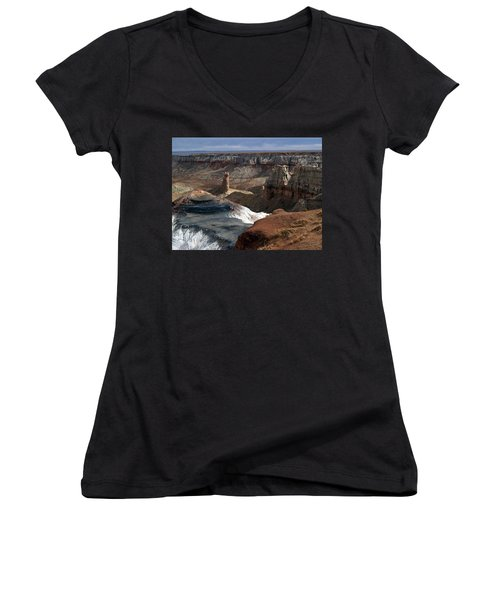 Coal Mine Mesa 09 Women's V-Neck T-Shirt (Junior Cut) by Jeff Brunton
