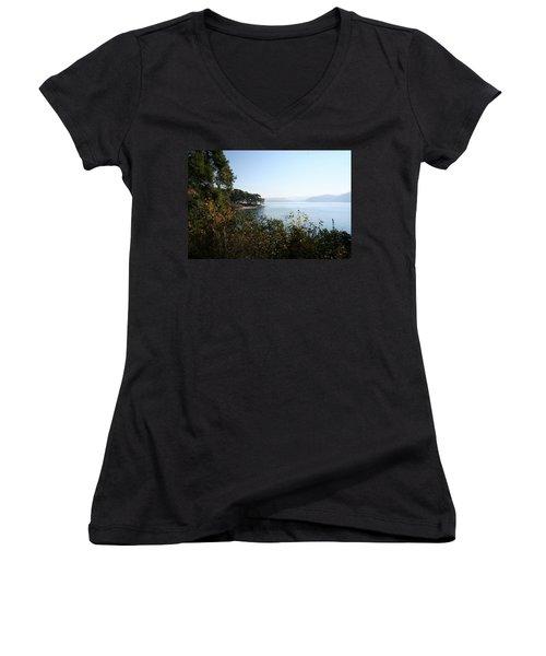Women's V-Neck T-Shirt (Junior Cut) featuring the photograph Coast by Tracey Harrington-Simpson