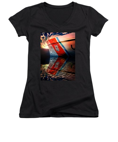 Aaron Berg Women's V-Neck T-Shirt (Junior Cut) featuring the photograph Coast Guard Uscg Alert Wmec-630 by Aaron Berg