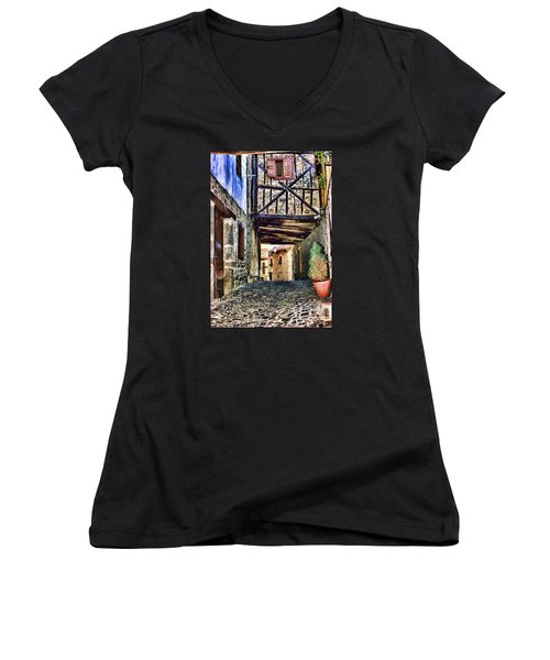 Cobble Streets Of Potes Spain By Diana Sainz Women's V-Neck