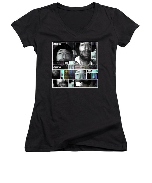 Women's V-Neck T-Shirt (Junior Cut) featuring the photograph Coca In Part 4 Collage by Sir Josef - Social Critic - ART