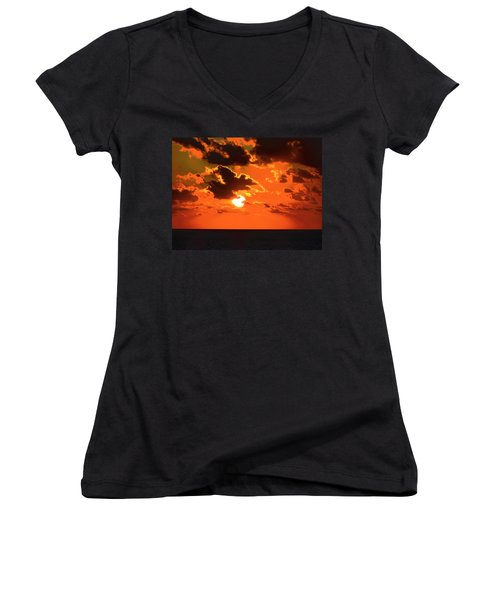 Women's V-Neck T-Shirt (Junior Cut) featuring the photograph Coco Cay Sunset by Jennifer Wheatley Wolf