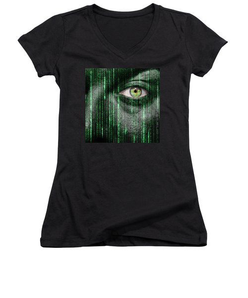 Code Breaker Women's V-Neck T-Shirt (Junior Cut) by Semmick Photo