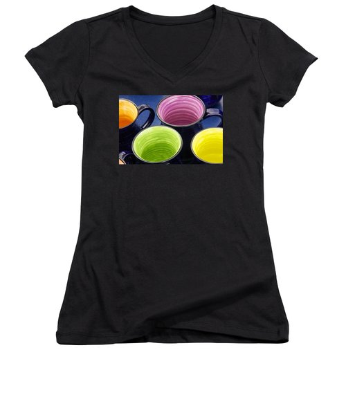 Women's V-Neck T-Shirt (Junior Cut) featuring the photograph Coffee Mugs by Stuart Litoff