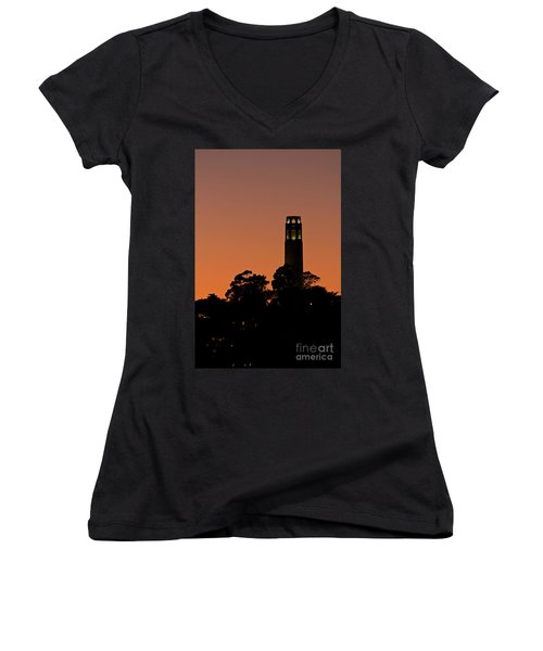 Women's V-Neck T-Shirt (Junior Cut) featuring the photograph Coit Tower Sunset by Kate Brown