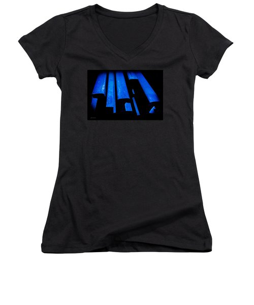 Women's V-Neck T-Shirt (Junior Cut) featuring the photograph Cold Blue Steel by Steven Milner