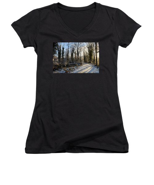 Women's V-Neck T-Shirt (Junior Cut) featuring the photograph Cold Morning by Felicia Tica